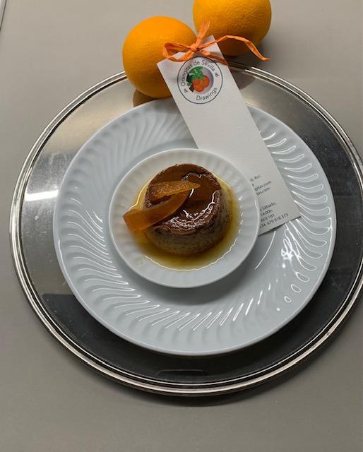 Flan de Naranja  Con Cascaritas de Naranja Confitadas
